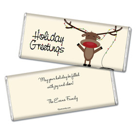 Happy Holidays Personalized Chocolate Bar Reindeer Holiday Greetings
