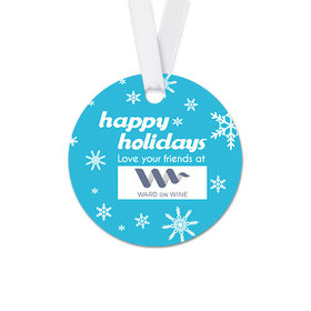 Personalized Round Christmas Holiday Snowflakes Favor Gift Tags (20 Pack)
