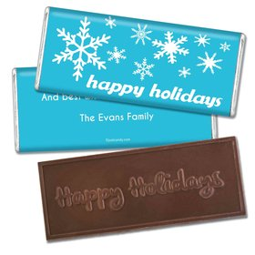Happy Holidays Personalized Embossed Chocolate Bar Holiday Snowflakes