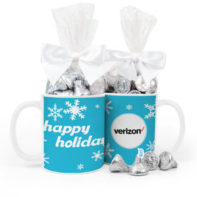 Personalized Christmas Holiday Snowflakes 11oz Mug with Hershey's Kisses