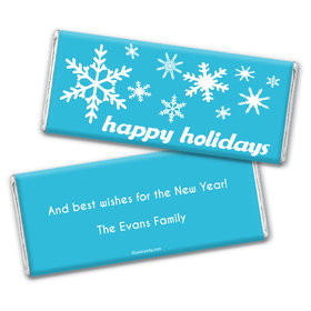 Happy Holidays Personalized Chocolate Bar Wrappers Holiday Snowflakes