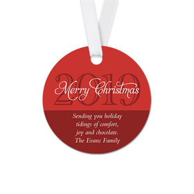 Personalized Round Christmas Year Favor Gift Tags (20 Pack)