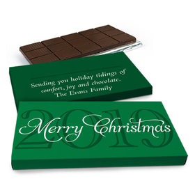 Deluxe Personalized Happy Holidays Year Chocolate Bar in Gift Box (3oz Bar)
