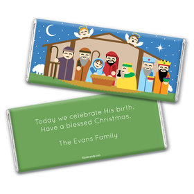 Christmas Personalized Chocolate Bar Wrappers Colorful Nativity Holy Night