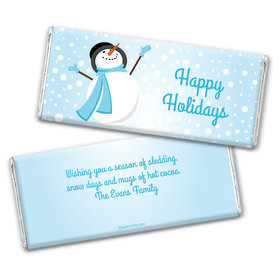Happy Holidays Personalized Chocolate Bar Wrappers Happy Holidays Frosty Snowman