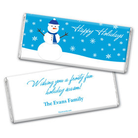 Happy Holidays Personalized Chocolate Bar Wrappers Happy Holidays Snowman