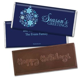Happy Holidays Personalized Embossed Chocolate Bar Season's Greetings Snowflake Ornament