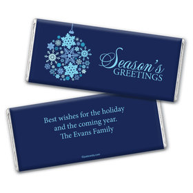 Happy Holidays Personalized Chocolate Bar Wrappers Season's Greetings Snowflake Ornament