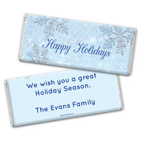 Happy Holidays Personalized Chocolate Bar Wrappers Classic Snowflakes Happy Holidays