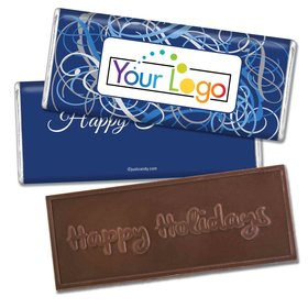 Happy Holidays Personalized Embossed Chocolate Bar Winter Scrolls with Business Logo