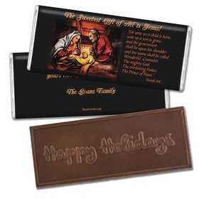 Christmas Personalized Embossed Chocolate Bar Sweetest Gift is Jesus Christmas Birth