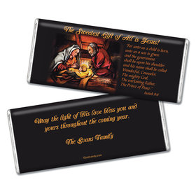 Christmas Personalized Chocolate Bar Sweetest Gift is Jesus Christmas Birth