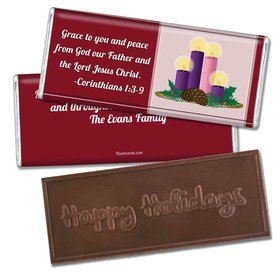 Christmas Personalized Embossed Chocolate Bar Grace and Peace to You