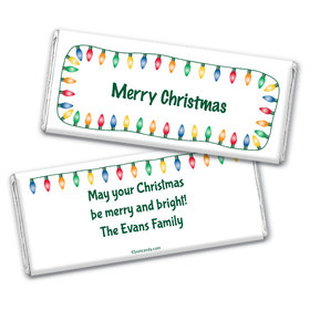 Christmas Personalized Chocolate Bar Wrappers Multi Colored Christmas Lights