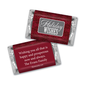 Happy Holidays Personalized Hershey's Miniatures Baroque Pattern Holiday Wishes