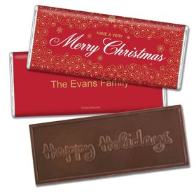 Happy Holidays Personalized Embossed Chocolate Bar Merry Golden Swirl Filigree