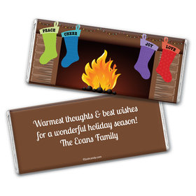 Christmas Personalized Chocolate Bar Wrappers Stockings Hung by Fireplace