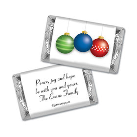 Christmas Personalized Hershey's Miniatures Wrappers Happy Holidays Ornaments