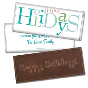 Happy Holidays Personalized Embossed Chocolate Bar Multicolor Happy Holidays