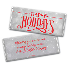 Happy Holidays Personalized Chocolate Bar Wrappers Happy Holidays Snowy Scroll