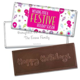 Happy Holidays Personalized Embossed Chocolate Bar Festive Season