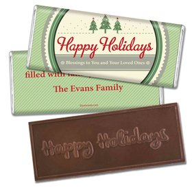 Happy Holidays Personalized Embossed Chocolate Bar Three Trees Happy Holidays
