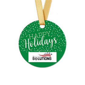 Personalized Round Christmas Simple Holidays Favor Gift Tags (20 Pack)