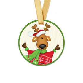 Personalized Round Christmas Jolly Reindeer Favor Gift Tags (20 Pack)