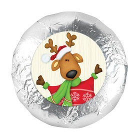 "Christmas Jolly Reindeer 1.25"" Stickers (48 Stickers)"