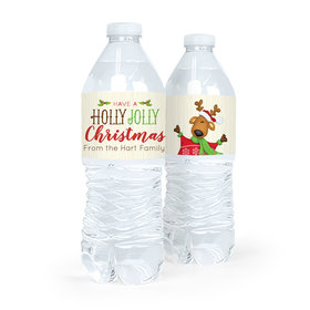 Personalized Christmas Jolly Reindeer Water Bottle Sticker Labels (5 Labels)
