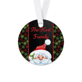 Personalized Round Christmas Chalkboard Santa Favor Gift Tags (20 Pack)