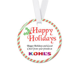 Personalized Round Christmas Stripes Favor Gift Tags (20 Pack)