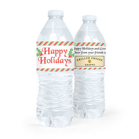 Personalized Christmas Stripes Water Bottle Sticker Labels (5 Labels)