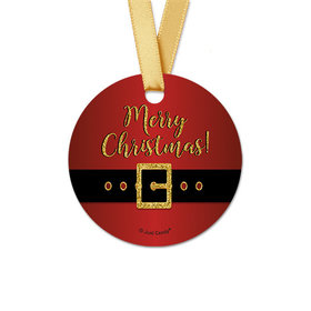 Personalized Round Christmas Santa Buckle Favor Gift Tags (20 Pack)