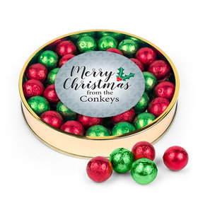 Personalized Merry Christmas Large Plastic Tin with Red & Green Caramel Filled Foil Balls