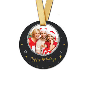 Personalized Round Christmas Once Upon a Holiday Favor Gift Tags (20 Pack)