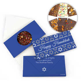 Personalized Hanukkah Festive Pattern Gourmet Infused Belgian Chocolate Bars (3.5oz)