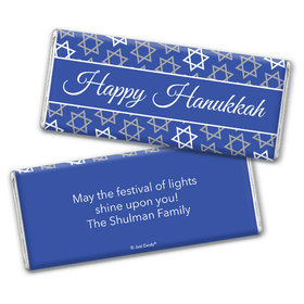 Personalized Hanukkah Festive Pattern Chocolate Bar & Wrapper