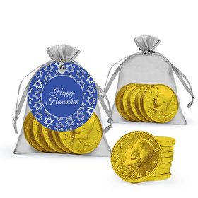 Hanukkah Festive Pattern Milk Chocolate Coins in Organza Bags with Gift Tag