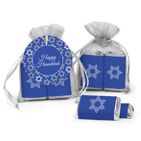 Hanukkah Hershey's Miniatures in Organza Bags with Gift Tag