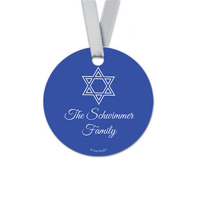 Personalized Round Hanukkah Simple Star of David Favor Gift Tags (20 Pack)