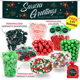 Personalized Holiday Pointsettia Seasons Greetings Deluxe Candy Buffet