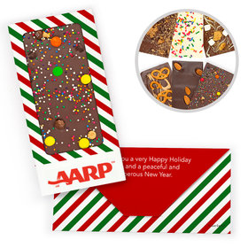 Personalized Christmas North Pole Stripes Add Your Logo Gourmet Infused Chocolate Bars (3.5oz)