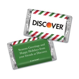 Personalized Christmas Season's Greetings with Stripes with Logo Hershey's Miniatures