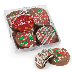 Happy Holidays Gourmet Belgian Chocolate Covered Oreos 4pc Gift Box