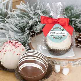 Personalized Christmas Hot Chocolate Bomb - Decorative Wreath and Your Logo