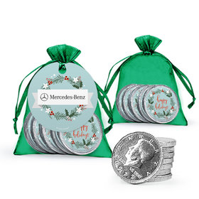 Personalized Christmas Decorative Wreath Add Your Logo Chocolate Coins in XS Organza Bags with Gift Tag