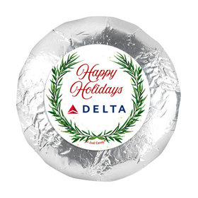 """Personalized Happy Holidays Winter Greenery 1.25"""" Stickers (48 Stickers)"""