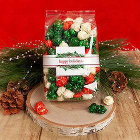 Personalized Happy Holidays Winter Greenery Candy Coated Popcorn 8 oz Bags