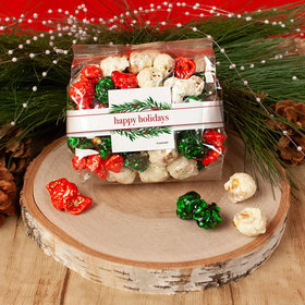 Personalized Happy Holidays Winter Greenery Christmas Candy Coated Popcorn 3.5 oz Bags